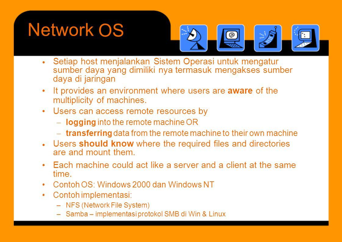 C t h OS Wi d 2000 d Wi d NT Network OS • Setiap host menjalankan Sistem Operasi untuk mengatur sumber daya yang dimiliki nya termasuk mengakses sumbe