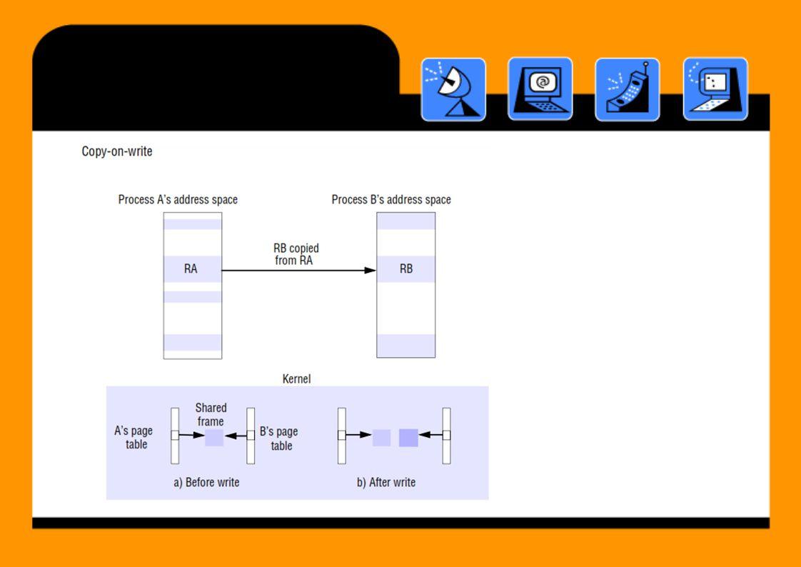 CopyonWrite •Region RA dan RB merupakan sharing memori dengan teknik copy-on write antara dua proses A dan B Ketika proses B hendak menulis ke share memory, maka akan terjadi memory protection page fault, sehingga akan mengalokasikan frame baru dari hasil duplikasi frame asli sehingga akan terdapat 2 page frame Data bisa dishare tanpa merusak data masing- masing jika ada penulisan / pengupdate-an • •