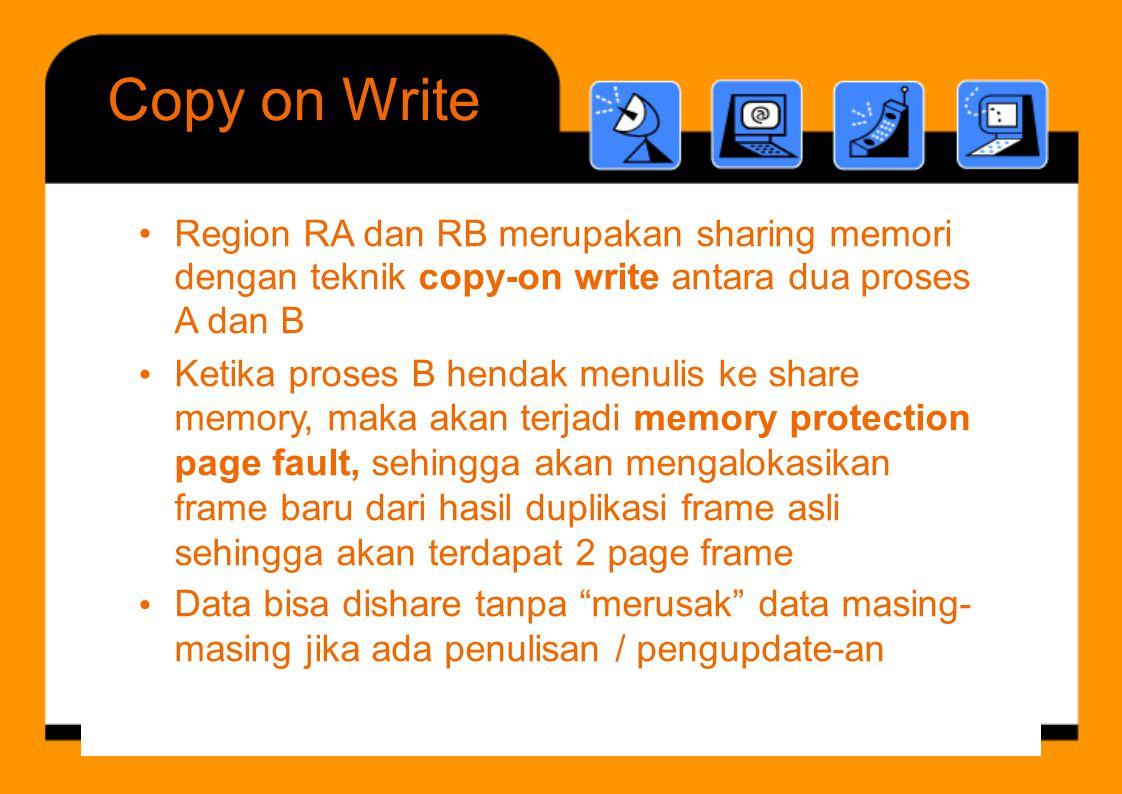 CopyonWrite •Region RA dan RB merupakan sharing memori dengan teknik copy-on write antara dua proses A dan B Ketika proses B hendak menulis ke share m