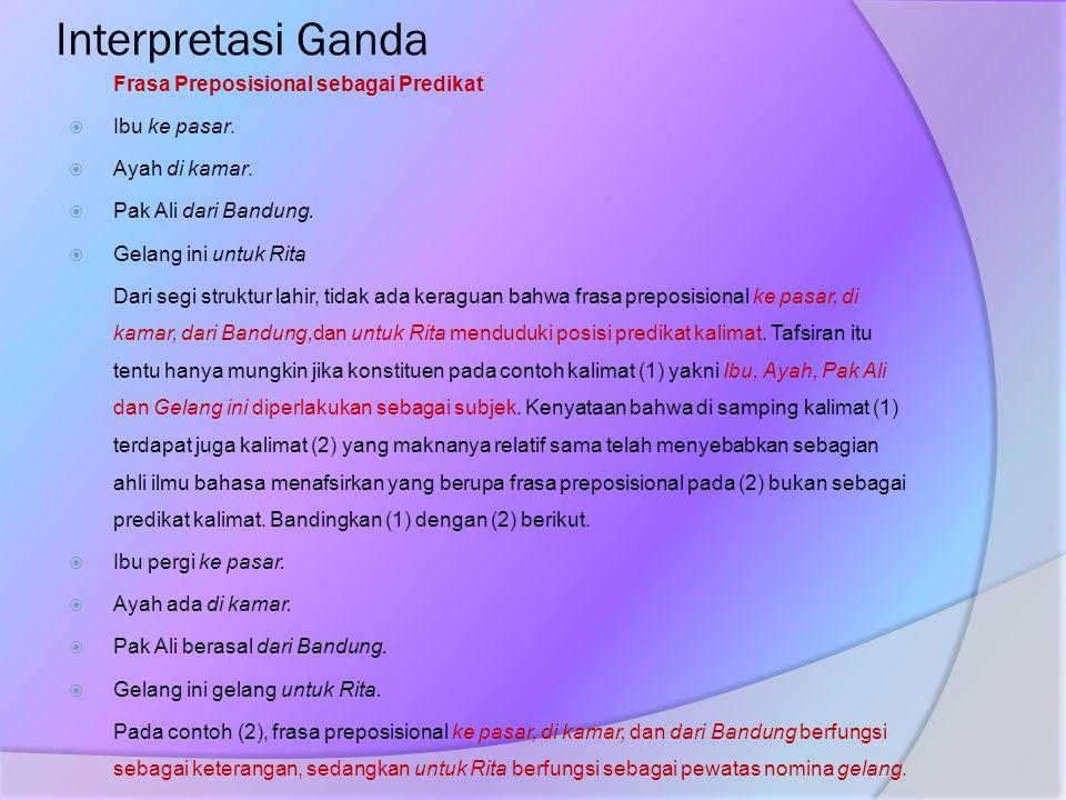 Interpretasi Ganda Frasa Preposisional sebagai Predikat  Ibu ke pasar.