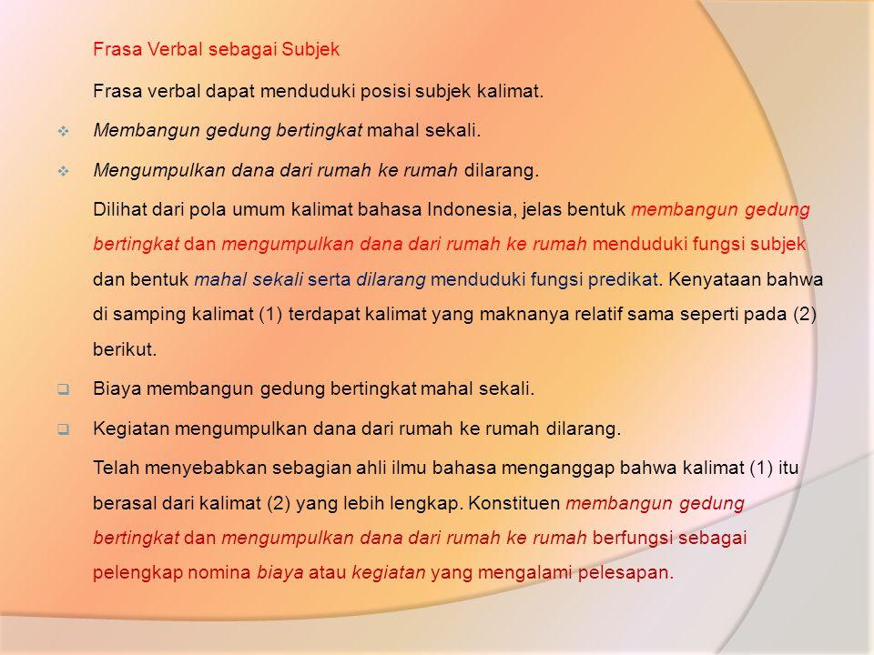 Frasa Verbal sebagai Subjek Frasa verbal dapat menduduki posisi subjek kalimat.