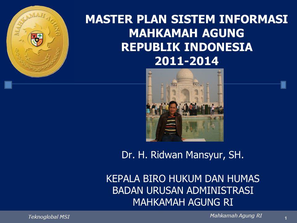 Mahkamah Agung RI Teknoglobal MSI 1 MASTER PLAN SISTEM INFORMASI MAHKAMAH AGUNG REPUBLIK INDONESIA 2011-2014 Dr. H. Ridwan Mansyur, SH. KEPALA BIRO HU