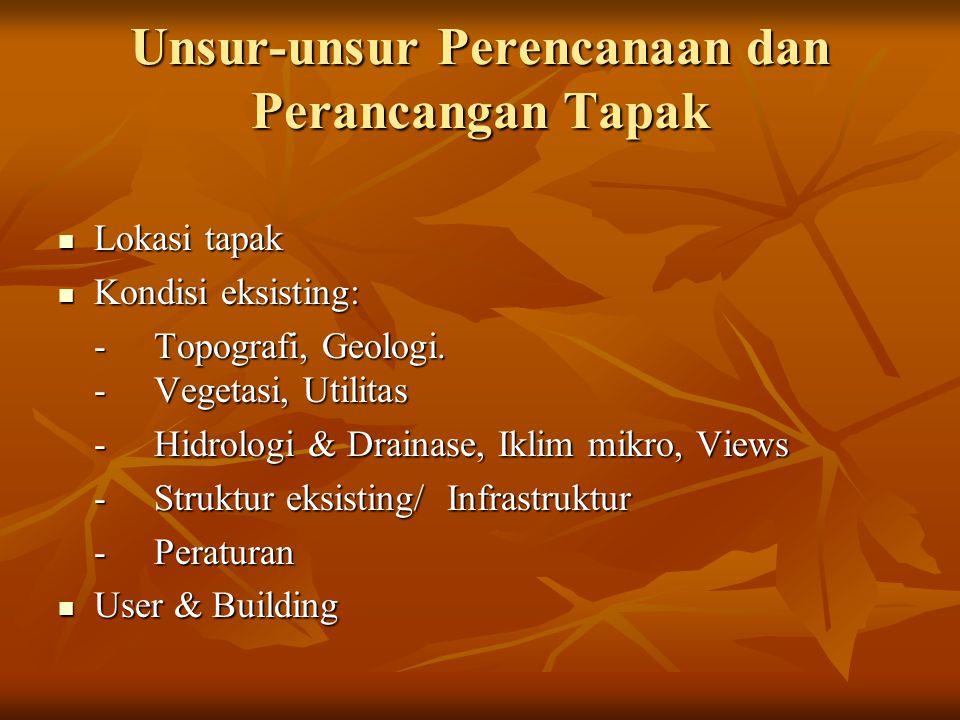 Unsur-unsur Perencanaan dan Perancangan Tapak  Lokasi tapak  Kondisi eksisting: -Topografi, Geologi. -Vegetasi, Utilitas -Hidrologi & Drainase, Ikli