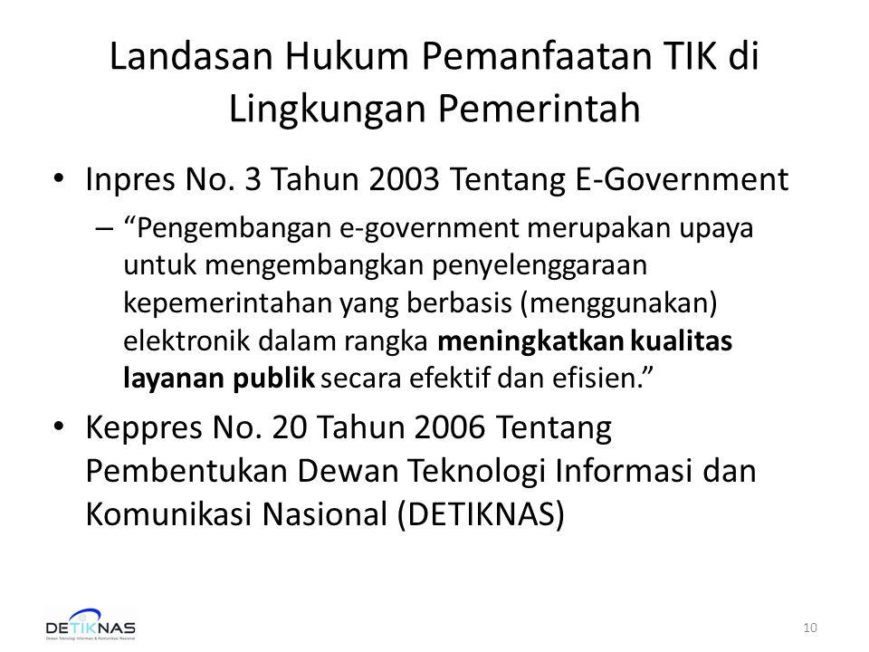 Landasan Hukum Pemanfaatan TIK di Lingkungan Pemerintah • Inpres No.