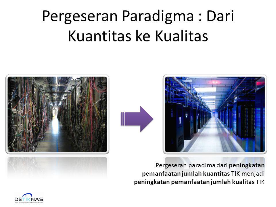 Pergeseran Paradigma : Dari Kuantitas ke Kualitas Pergeseran paradima dari peningkatan pemanfaatan jumlah kuantitas TIK menjadi peningkatan pemanfaatan jumlah kualitas TIK