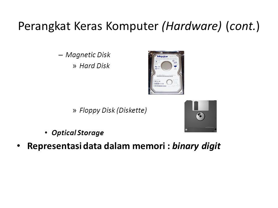 Perangkat Keras Komputer (Hardware) (cont.) – Magnetic Disk » Hard Disk » Floppy Disk (Diskette) • Optical Storage • Representasi data dalam memori :