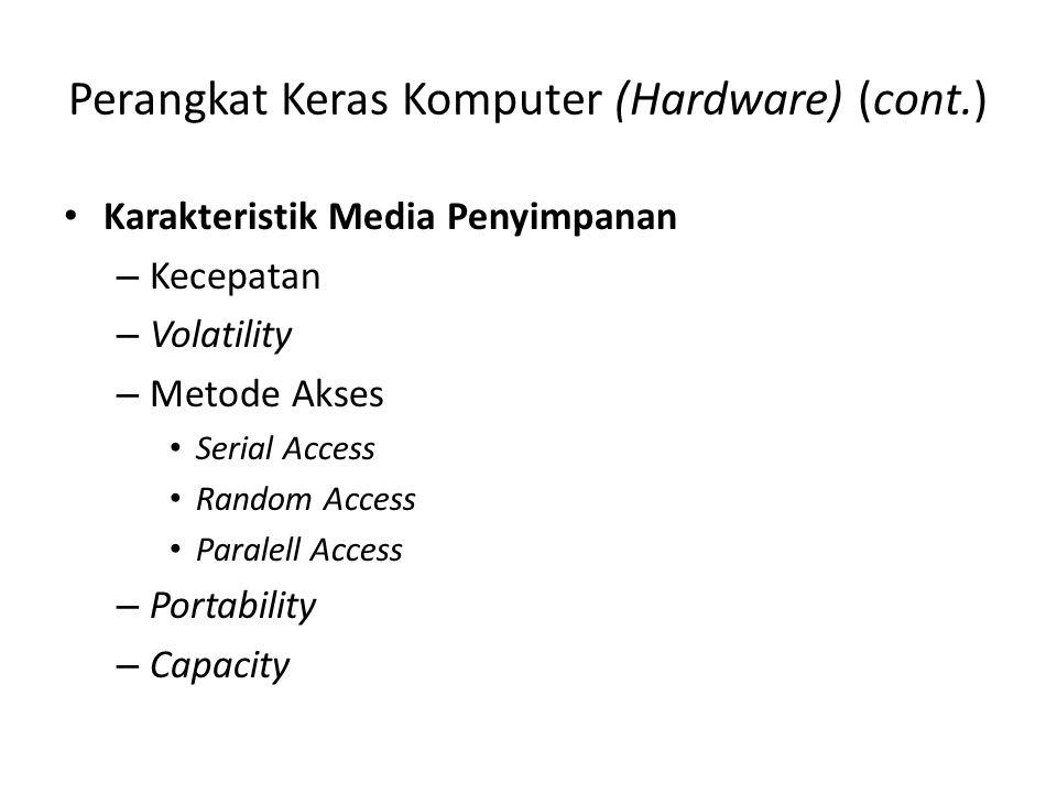 Perangkat Keras Komputer (Hardware) (cont.) •K•Karakteristik Media Penyimpanan –K–Kecepatan –V–Volatility –M–Metode Akses •S•Serial Access •R•Random A