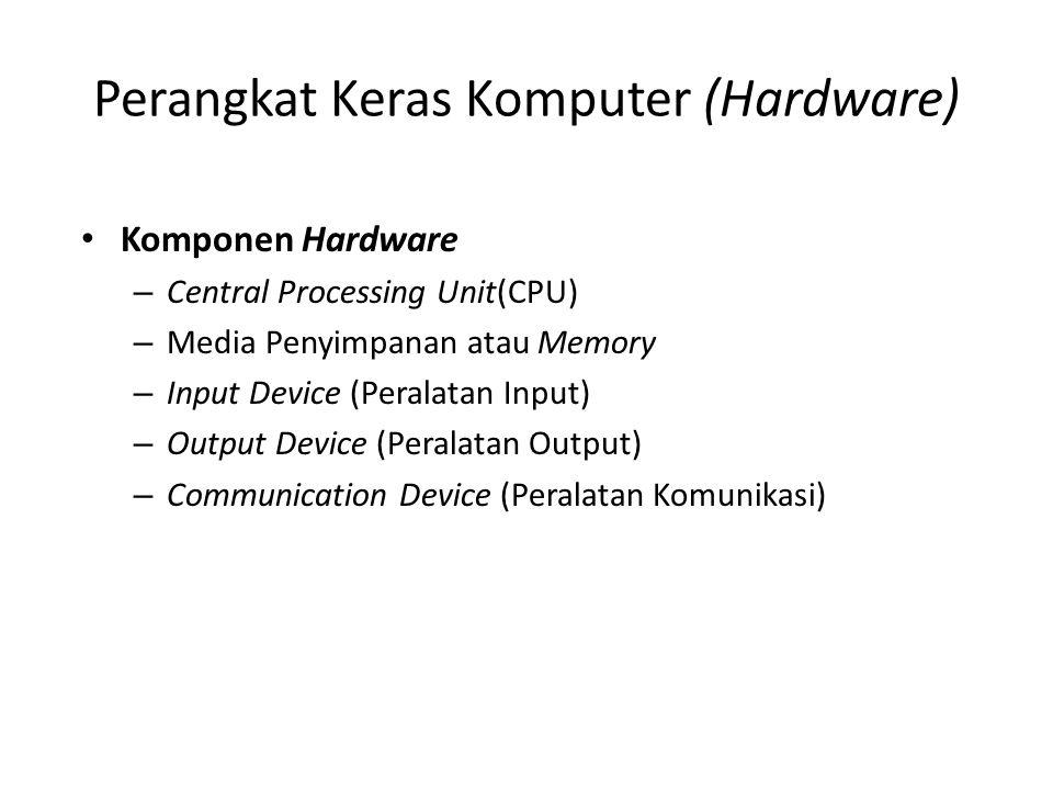 Perangkat Keras Komputer (Hardware) (cont.) •K•Karakteristik Media Penyimpanan –K–Kecepatan –V–Volatility –M–Metode Akses •S•Serial Access •R•Random Access •P•Paralell Access –P–Portability –C–Capacity