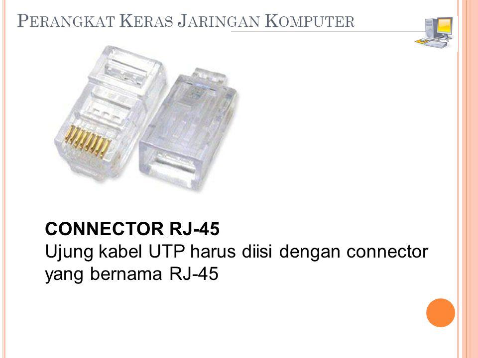 P ERANGKAT K ERAS J ARINGAN K OMPUTER CONNECTOR RJ-45 Ujung kabel UTP harus diisi dengan connector yang bernama RJ-45