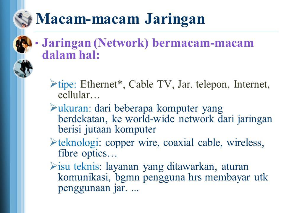 Macam-macam Jaringan • Jaringan (Network) bermacam-macam dalam hal:  tipe: Ethernet*, Cable TV, Jar.