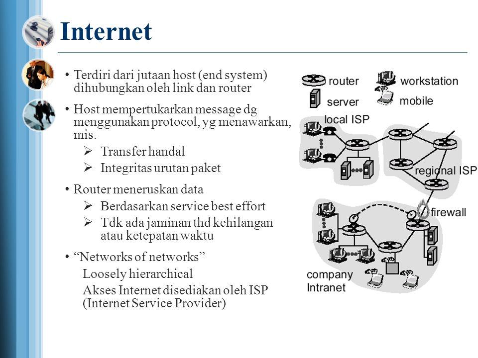 Internet •Terdiri dari jutaan host (end system) dihubungkan oleh link dan router •Host mempertukarkan message dg menggunakan protocol, yg menawarkan, mis.