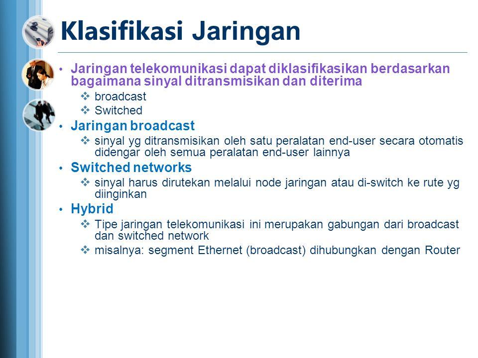 Klasifikasi Jaringan • Jaringan telekomunikasi dapat diklasifikasikan berdasarkan bagaimana sinyal ditransmisikan dan diterima  broadcast  Switched • Jaringan broadcast  sinyal yg ditransmisikan oleh satu peralatan end-user secara otomatis didengar oleh semua peralatan end-user lainnya • Switched networks  sinyal harus dirutekan melalui node jaringan atau di-switch ke rute yg diinginkan • Hybrid  Tipe jaringan telekomunikasi ini merupakan gabungan dari broadcast dan switched network  misalnya: segment Ethernet (broadcast) dihubungkan dengan Router