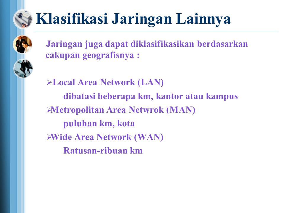 Klasifikasi Jaringan Lainnya Jaringan juga dapat diklasifikasikan berdasarkan cakupan geografisnya :  Local Area Network (LAN) dibatasi beberapa km, kantor atau kampus  Metropolitan Area Netwrok (MAN) puluhan km, kota  Wide Area Network (WAN) Ratusan-ribuan km