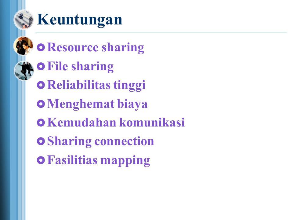 Keuntungan  Resource sharing  File sharing  Reliabilitas tinggi  Menghemat biaya  Kemudahan komunikasi  Sharing connection  Fasilitias mapping