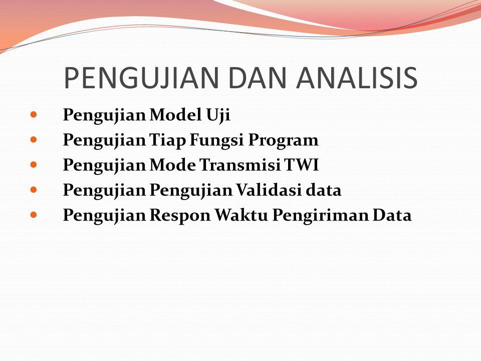PENGUJIAN DAN ANALISIS  Pengujian Model Uji  Pengujian Tiap Fungsi Program  Pengujian Mode Transmisi TWI  Pengujian Pengujian Validasi data  Pengujian Respon Waktu Pengiriman Data