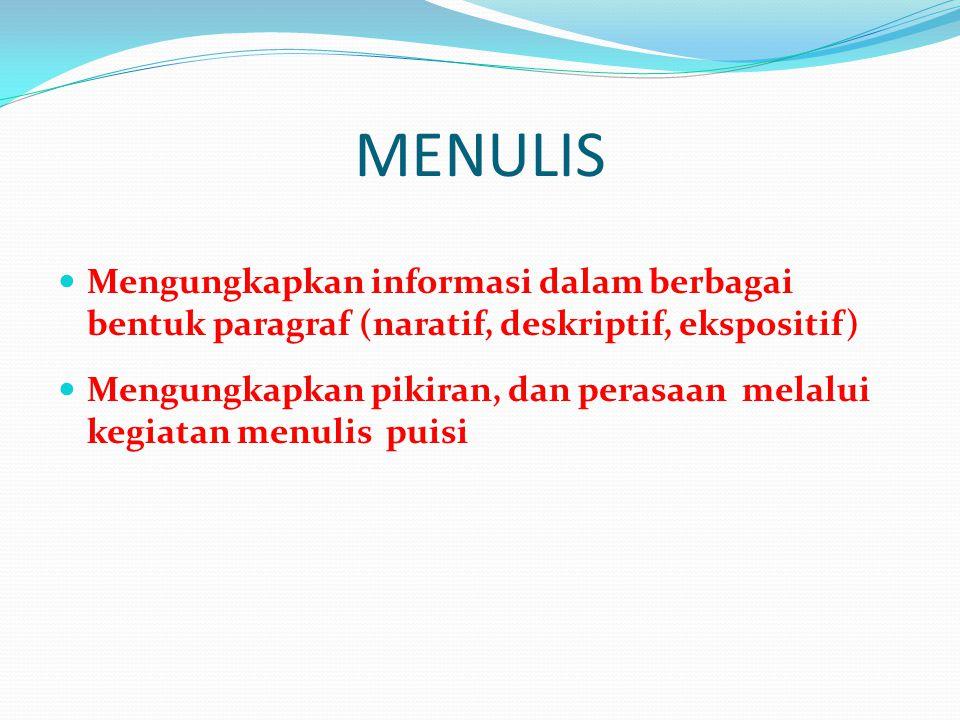 MENULIS  Mengungkapkan informasi dalam berbagai bentuk paragraf (naratif, deskriptif, ekspositif)  Mengungkapkan pikiran, dan perasaan melalui kegia