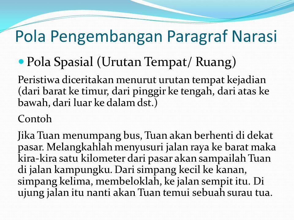 Latihan 1  Daftarlahr 5 buah topik yang dapat dikembangkan menjadi paragraf naratif.