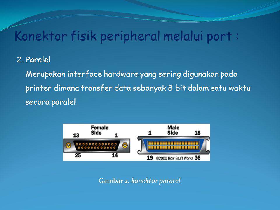 Konektor fisik peripheral melalui port : 2.