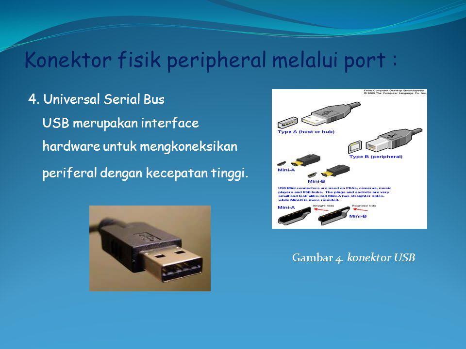Konektor fisik peripheral melalui port : 4. Universal Serial Bus USB merupakan interface hardware untuk mengkoneksikan periferal dengan kecepatan ting