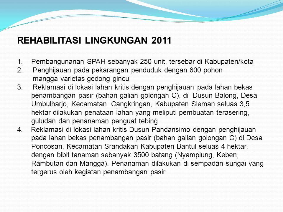 REHABILITASI LINGKUNGAN 2011 1.Pembangunanan SPAH sebanyak 250 unit, tersebar di Kabupaten/kota 2. Penghijauan pada pekarangan penduduk dengan 600 poh