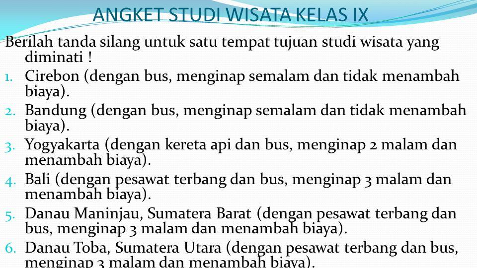ANGKET STUDI WISATA KELAS IX Berilah tanda silang untuk satu tempat tujuan studi wisata yang diminati ! 1. Cirebon (dengan bus, menginap semalam dan t