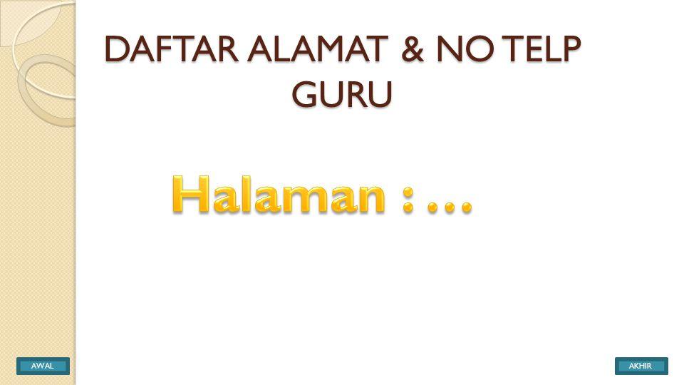 DAFTAR ALAMAT & NO TELP GURU AWALAKHIR