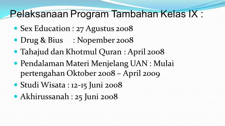  Sex Education : 27 Agustus 2008  Drug & Bius : Nopember 2008  Tahajud dan Khotmul Quran : April 2008  Pendalaman Materi Menjelang UAN : Mulai per