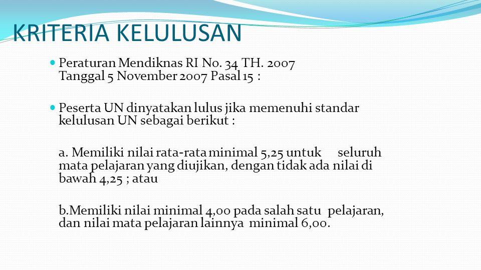 KRITERIA KELULUSAN  Peraturan Mendiknas RI No. 34 TH. 2007 Tanggal 5 November 2007 Pasal 15 :  Peserta UN dinyatakan lulus jika memenuhi standar kel