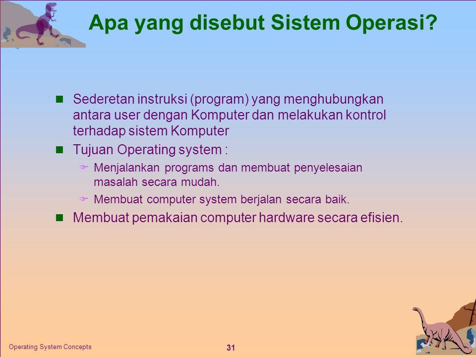 31 Operating System Concepts Apa yang disebut Sistem Operasi.