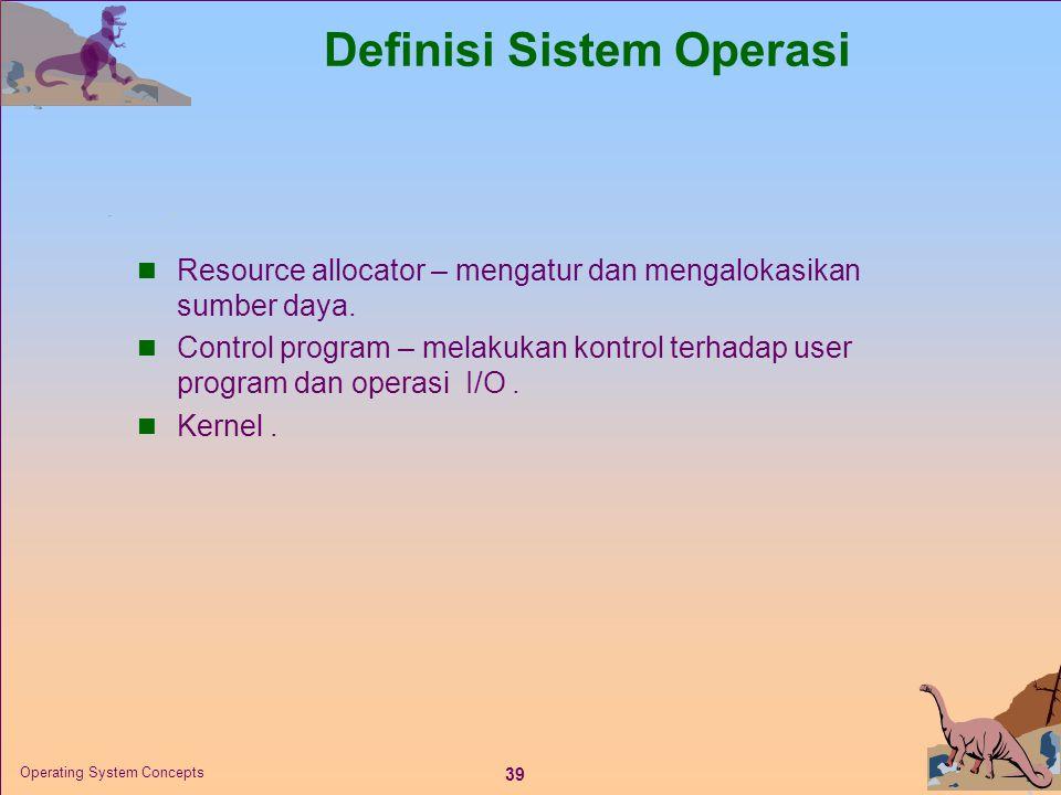 39 Operating System Concepts Definisi Sistem Operasi  Resource allocator – mengatur dan mengalokasikan sumber daya.