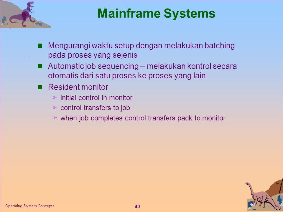 40 Operating System Concepts Mainframe Systems  Mengurangi waktu setup dengan melakukan batching pada proses yang sejenis  Automatic job sequencing – melakukan kontrol secara otomatis dari satu proses ke proses yang lain.