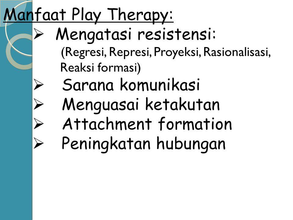 Manfaat Play Therapy:  Mengatasi resistensi: (Regresi, Represi, Proyeksi, Rasionalisasi, Reaksi formasi)  Sarana komunikasi  Menguasai ketakutan 