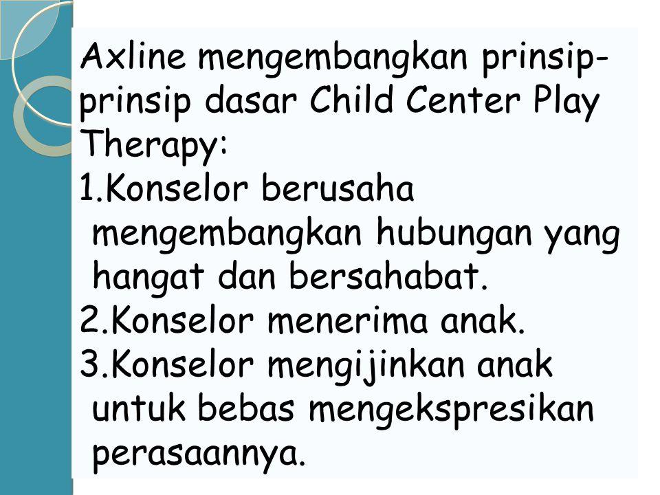 Axline mengembangkan prinsip- prinsip dasar Child Center Play Therapy: 1.Konselor berusaha mengembangkan hubungan yang hangat dan bersahabat. 2.Konsel