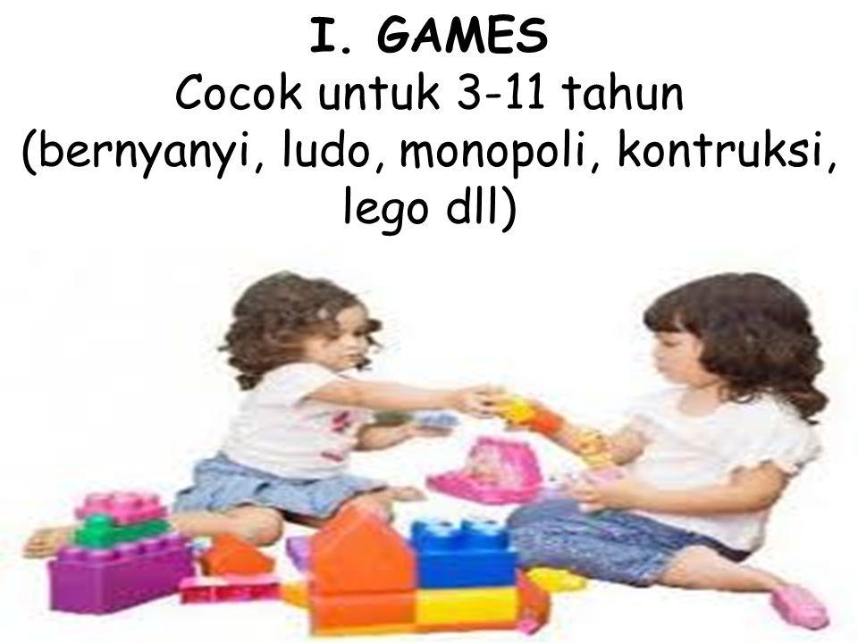 I. GAMES Cocok untuk 3-11 tahun (bernyanyi, ludo, monopoli, kontruksi, lego dll)