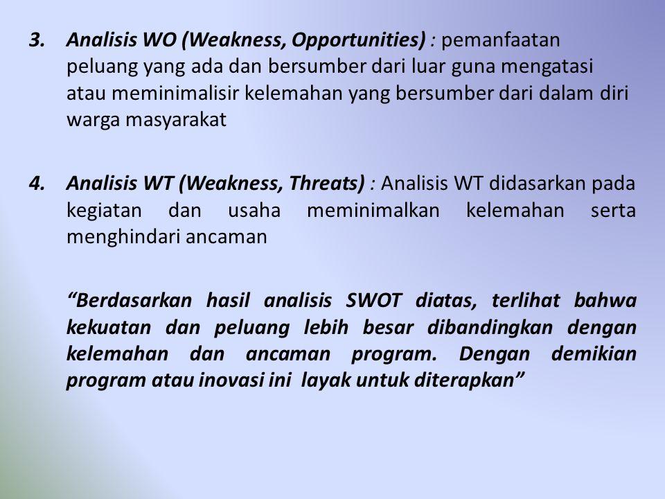 3.Analisis WO (Weakness, Opportunities) : pemanfaatan peluang yang ada dan bersumber dari luar guna mengatasi atau meminimalisir kelemahan yang bersum