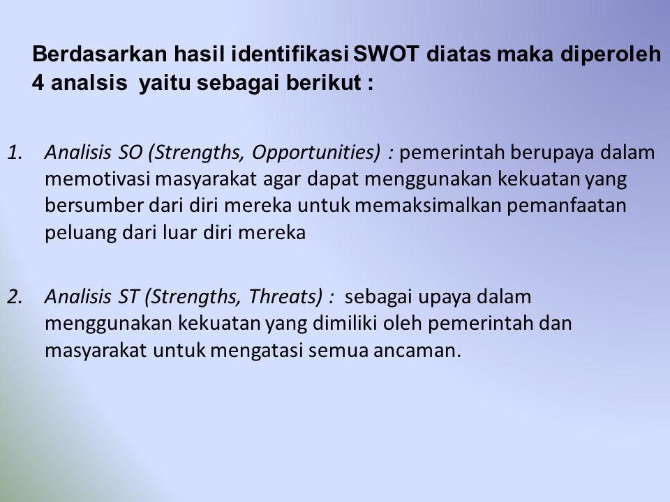 Berdasarkan hasil identifikasi SWOT diatas maka diperoleh 4 analsis yaitu sebagai berikut : 1.Analisis SO (Strengths, Opportunities) : pemerintah beru