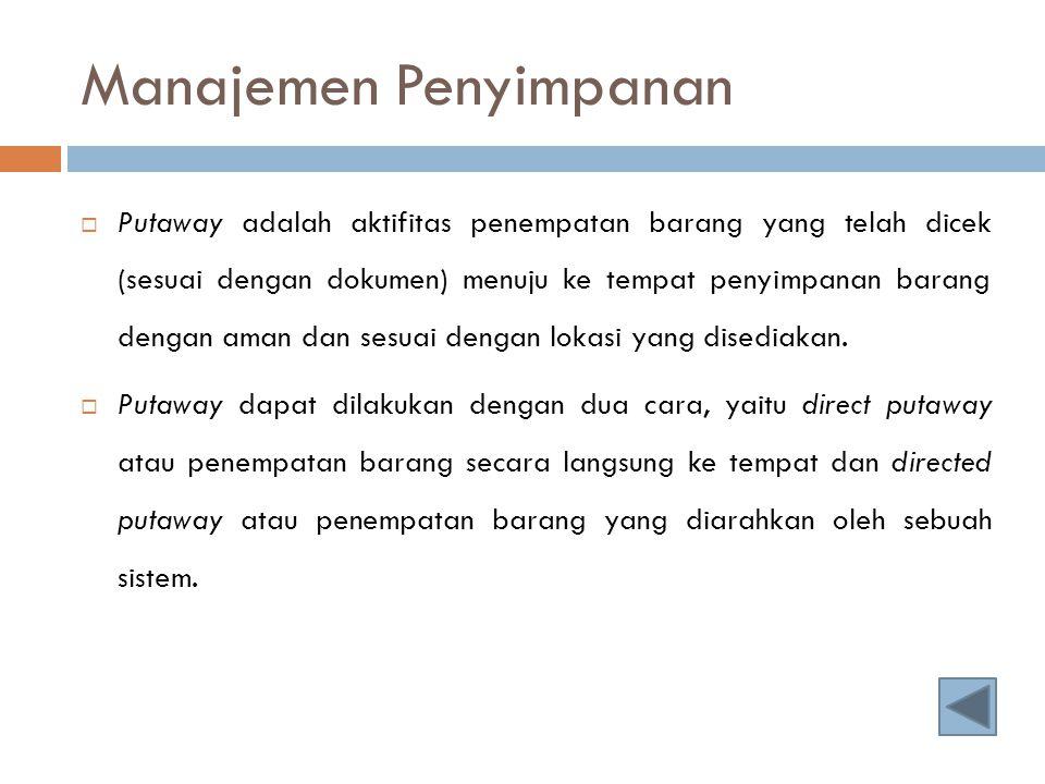 Manajemen Penyimpanan  Putaway adalah aktifitas penempatan barang yang telah dicek (sesuai dengan dokumen) menuju ke tempat penyimpanan barang dengan