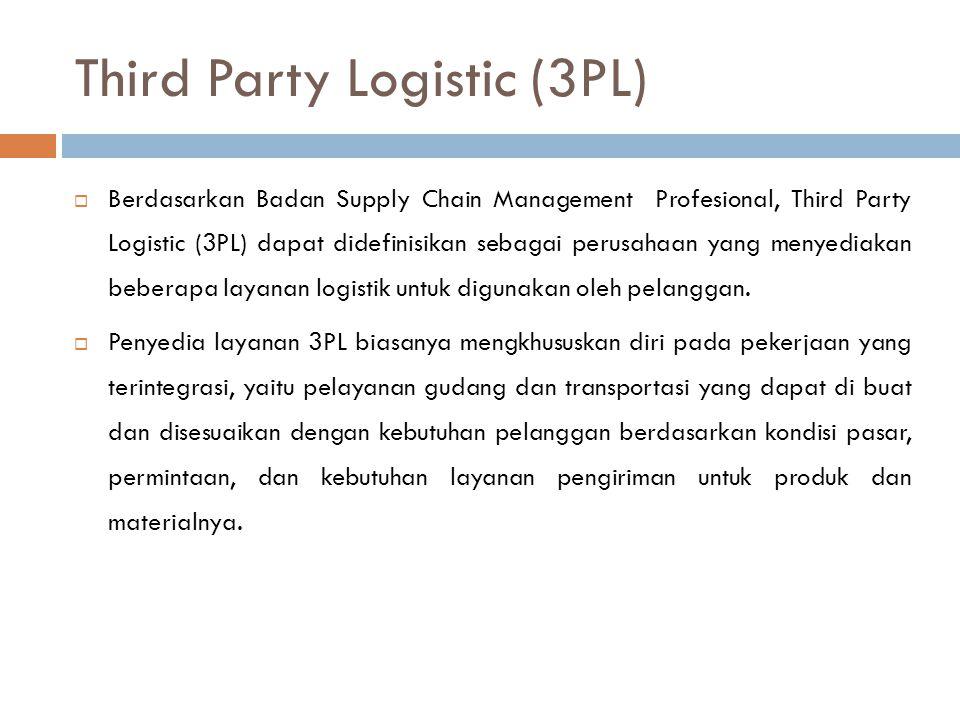 Third Party Logistic (3PL)  Berdasarkan Badan Supply Chain Management Profesional, Third Party Logistic (3PL) dapat didefinisikan sebagai perusahaan