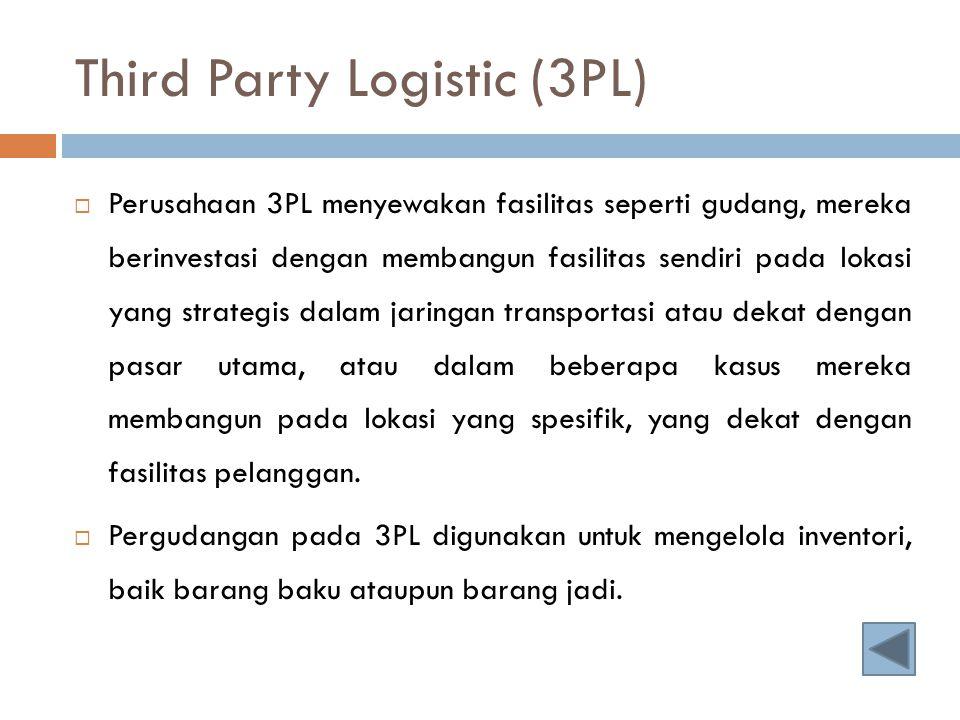 Third Party Logistic (3PL)  Perusahaan 3PL menyewakan fasilitas seperti gudang, mereka berinvestasi dengan membangun fasilitas sendiri pada lokasi ya