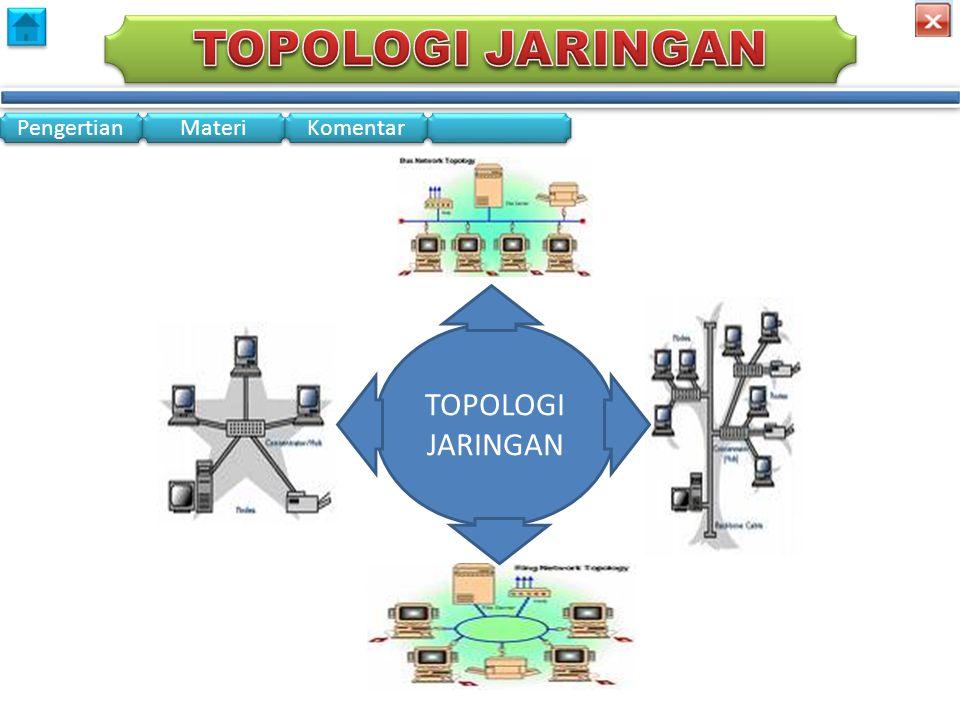 Pengertian Materi Komentar • Topologi adalah layout atau pola interkoneksi jaringan komputer • Dalam definisi topologi terbagi menjadi dua, yaitu topologi fisik (physical topology) yang menunjukan posisi pemasangan kabel secara fisik dan topologi logik (logical topology) yang menunjukan bagaimana suatu media diakses oleh host