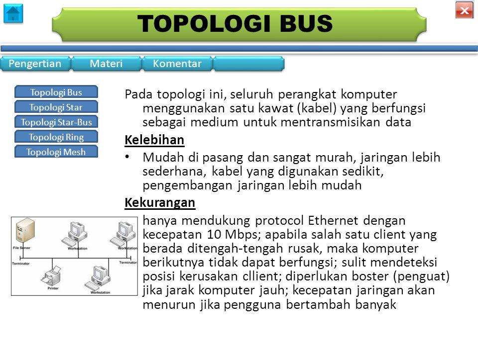 Topologi Bus Topologi Star Topologi Star-Bus Topologi Ring Topologi Mesh Pengertian Materi Komentar TOPOLOGI STAR • Dalam konfigurasi bintang, beberapa peralatan yang ada akan dihubungkan kedalam satu pusat komputer.