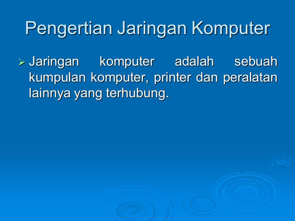 Pengertian Jaringan Komputer  Jaringan komputer adalah sebuah kumpulan komputer, printer dan peralatan lainnya yang terhubung.