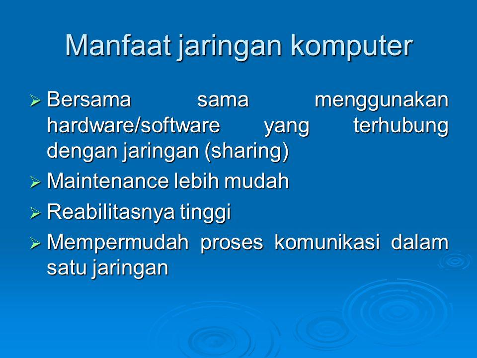 Manfaat jaringan komputer  Bersama sama menggunakan hardware/software yang terhubung dengan jaringan (sharing)  Maintenance lebih mudah  Reabilitasnya tinggi  Mempermudah proses komunikasi dalam satu jaringan