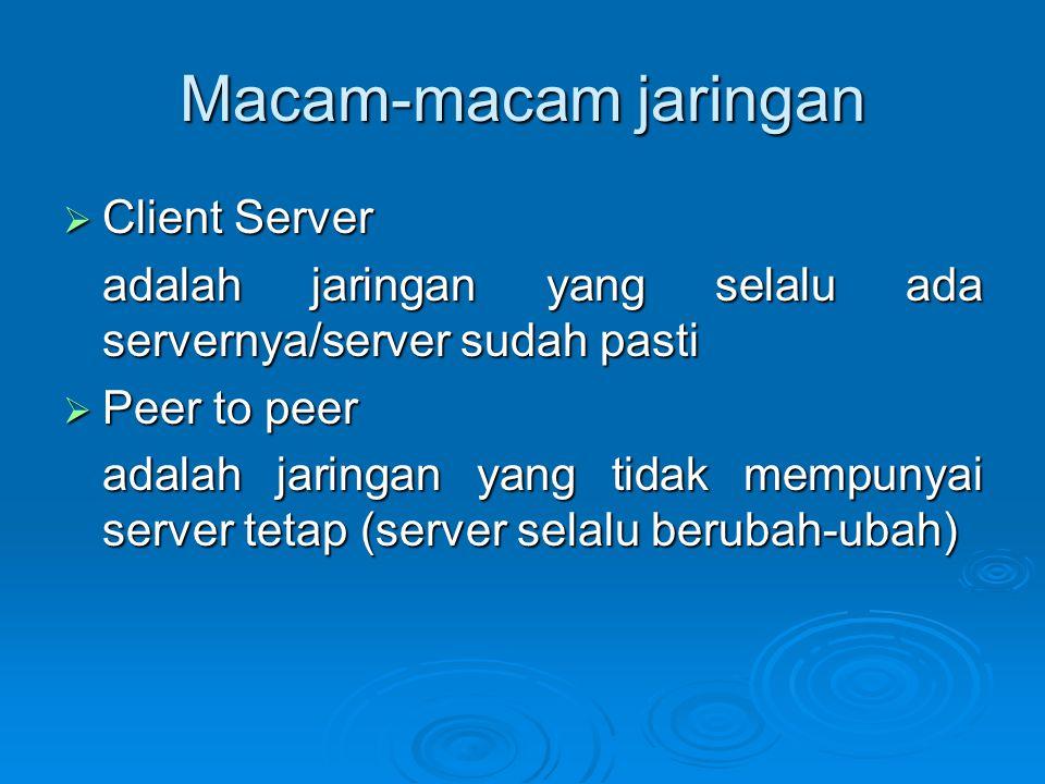 Macam-macam jaringan  Client Server adalah jaringan yang selalu ada servernya/server sudah pasti  Peer to peer adalah jaringan yang tidak mempunyai server tetap (server selalu berubah-ubah)