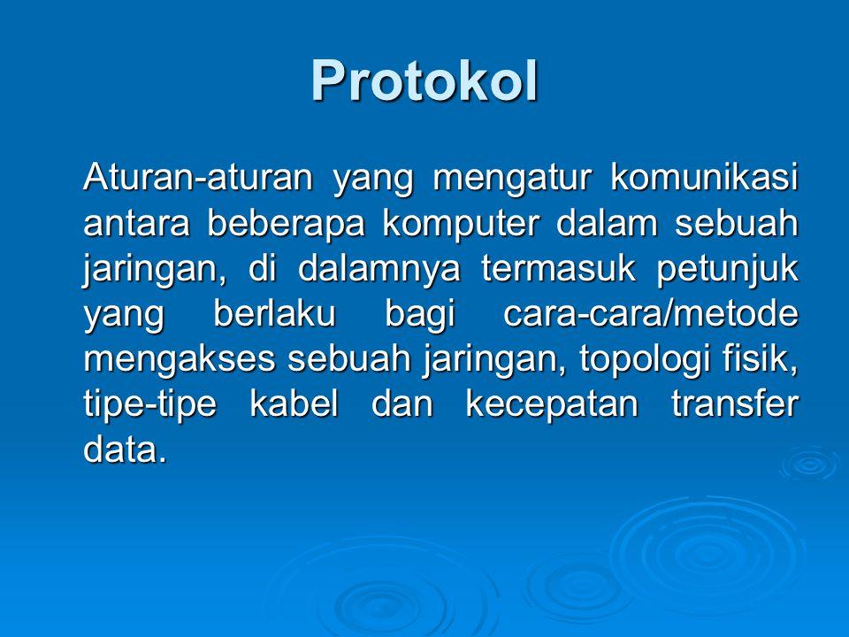 Protokol Aturan-aturan yang mengatur komunikasi antara beberapa komputer dalam sebuah jaringan, di dalamnya termasuk petunjuk yang berlaku bagi cara-cara/metode mengakses sebuah jaringan, topologi fisik, tipe-tipe kabel dan kecepatan transfer data.