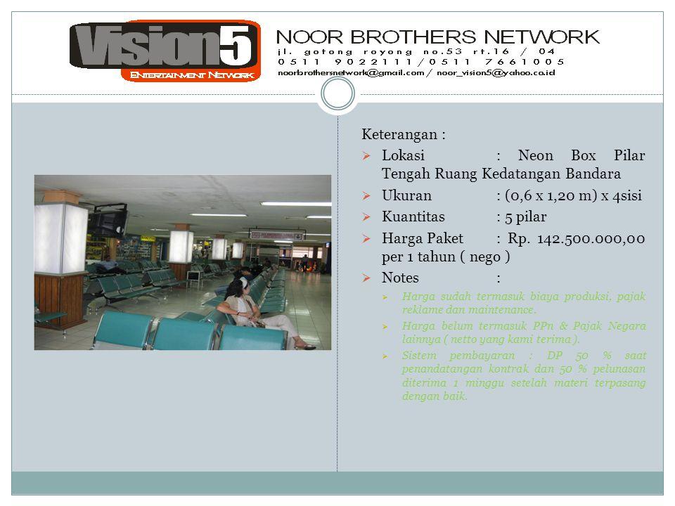 Keterangan :  Lokasi : Neon Box Pilar Tengah Ruang Kedatangan Bandara  Ukuran: (0,6 x 1,20 m) x 4sisi  Kuantitas: 5 pilar  Harga Paket: Rp. 142.50