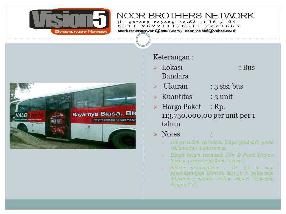 Keterangan :  Lokasi: Bus Bandara  Ukuran: 3 sisi bus  Kuantitas: 3 unit  Harga Paket: Rp. 113.750.000,00 per unit per 1 tahun  Notes:  Harga su