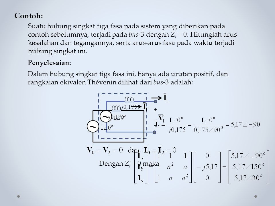 Contoh: Suatu hubung singkat tiga fasa pada sistem yang diberikan pada contoh sebelumnya, terjadi pada bus-3 dengan Z f = 0. Hitunglah arus kesalahan