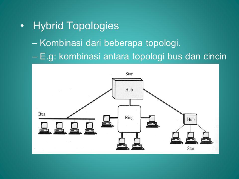 • Hybrid Topologies –Kombinasi dari beberapa topologi. –E.g: kombinasi antara topologi bus dan cincin