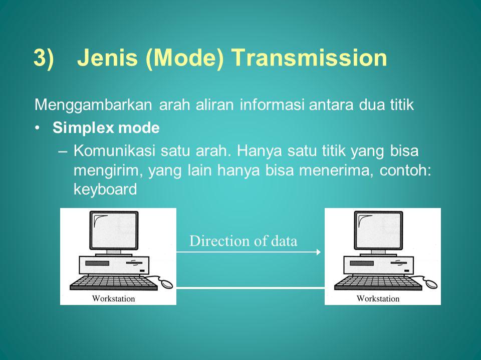 3)Jenis (Mode) Transmission Menggambarkan arah aliran informasi antara dua titik •Simplex mode –Komunikasi satu arah. Hanya satu titik yang bisa mengi
